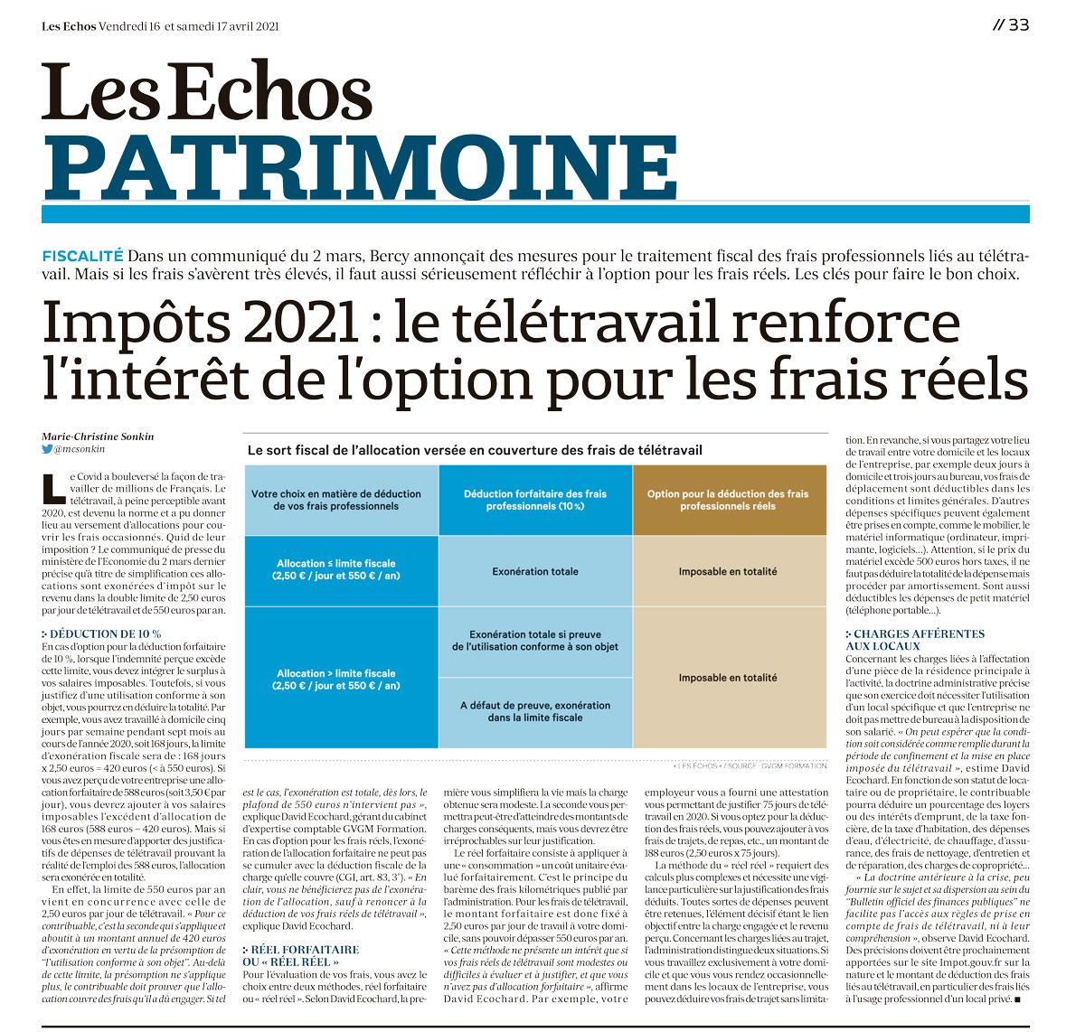 Impots 2021 : option pour les frais réels renforcé